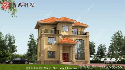 三层别墅图,欧式外观米黄色外墙喷涂效果好看