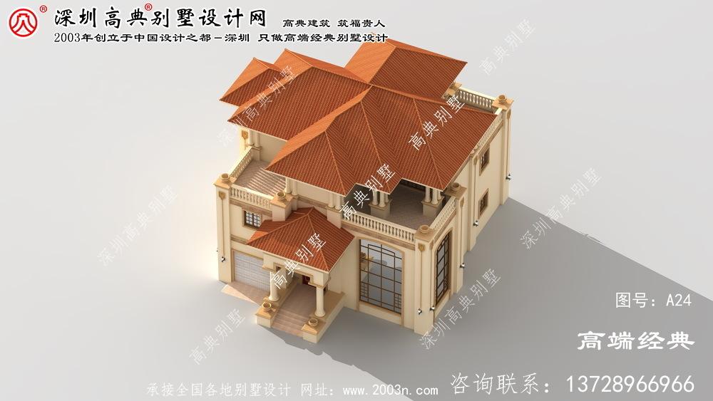 古塔区带车库三层别墅设计图