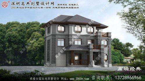 前郭尔罗斯蒙古族自治县中式三层别墅设计图