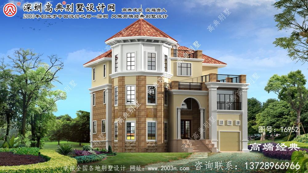 迎泽区带车库的欧式三层别墅设计效果图。