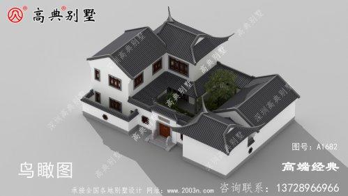 海宁市徽派的农村中式住宅外观图