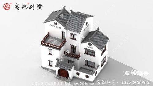 素雅中式三层别墅,整体非常简单大方