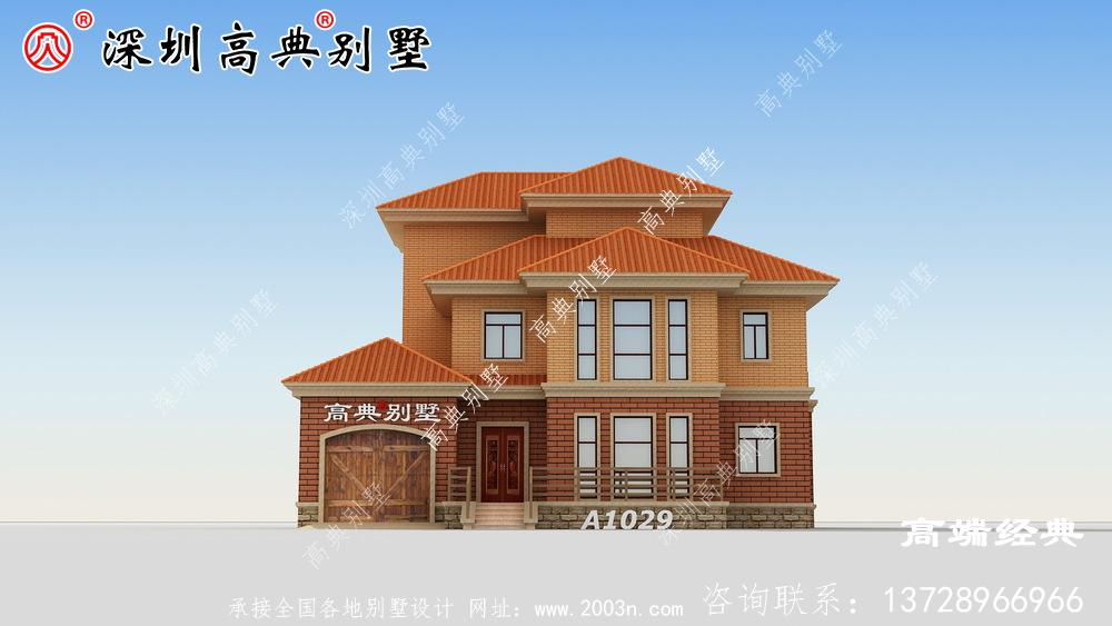 三层别墅设计图,经典沉稳不失大气,最适合农村建
