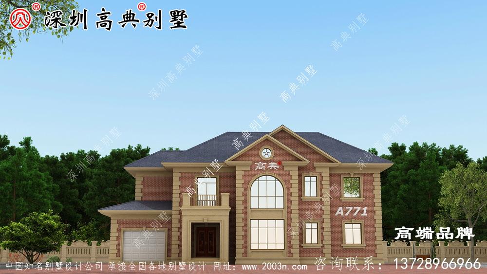 简单实用的二层别墅,面宽12.6米,造价都30万左右
