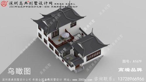 乡土 风格 的新中式 二层 四合院 别墅设计图