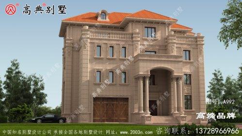 欧式石材别墅外观采用统一色调十分经典